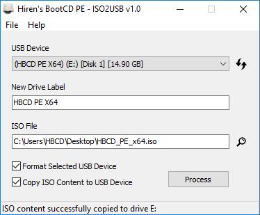 Hiren's BootCD PE - ISO2USB - Completado