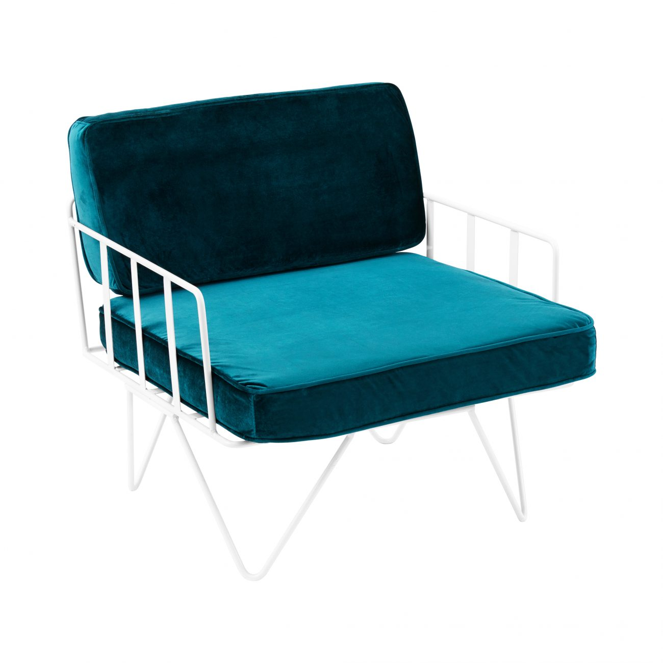 white lounge chair cushions tubular steel design sofa wire single seater with velvet