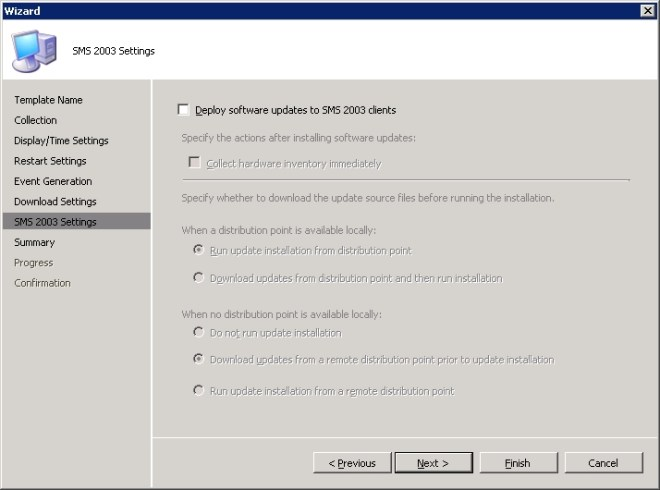 Wizard - SMS 2003 Settings