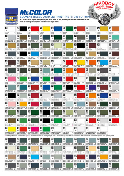 Mr Color Lacquer Paint Chart Coloringsite