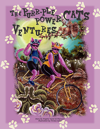 hiroko sakai, children book, heart warming children book, purple cat, cat story, gift for kids, gift for children, baby gift, book, artist book, cool book