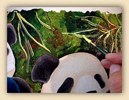 children's book, cool children's book, heartwarming children's book, panda story, panda illustration, animal illustrations, blue panda, sign language, sign language hand chart, cute panda,panda,dreams, challenge, gay family, same sex marriage, gay parents, adoption, sky blue, babble, heartwarming story, family, love, artist illustration, hiroko sakai, hiroko, san francisco local artist, gift for kids, cool gift for children, cool, cute, painting process, oil painting