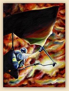 challenge, art, hang glider painting, sky painting, sun set painting, ikaros's wings,fantasy art, hiroko, hiroko sakai, sun, fly, dreams, cool painting, cool art