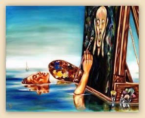 funny painting, humorous painting, art, funny art, hiroko, hiroko sakai, original oil painting, cool art, cool painting, ocean, artist, painting in ocean