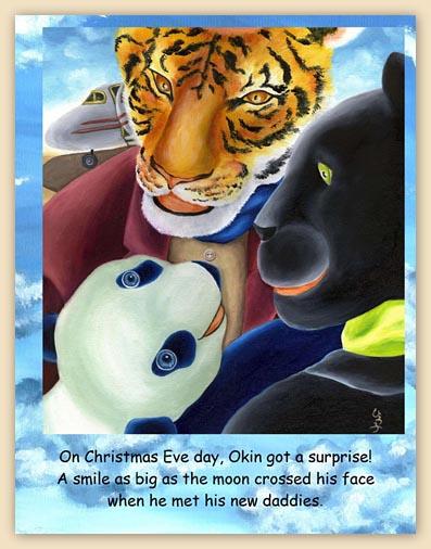 children's book, cool children's book, panda, tiger, panther, animals, blue sky, blue panda, panda children's book, children's book illustration, gift for children, little readers, children,