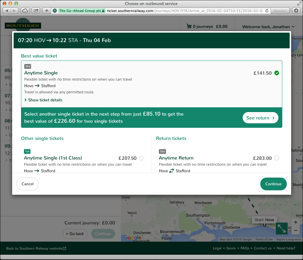 A User's Experience: Southern Rail Online Booking | Jonathan
