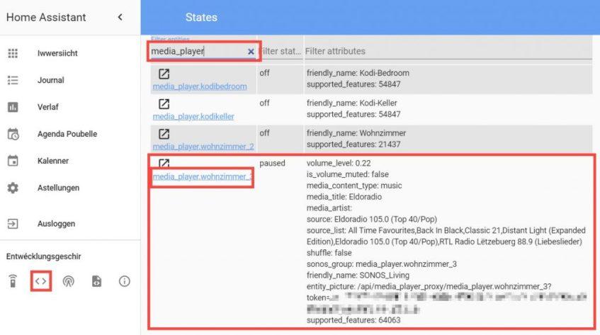 Home Assistant - Entity_id vum Mediaplayer fannen
