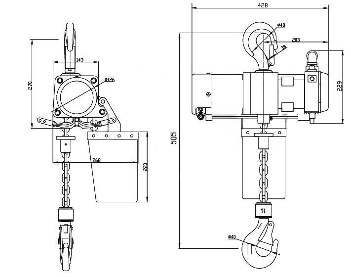 1T Single Hook Pneumatic Hoist Supplier, China Air