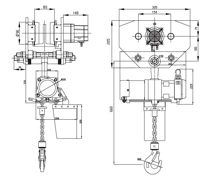 1T Pneumatic Chain Hoist with Trolley Supplier, China Air