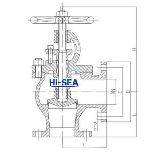 Marine Flanged Cast Steel stop valve CB/T4004-2005