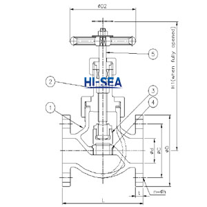 Marine Cast Ductile Iron Globe valve JIS F7323(C) 16k