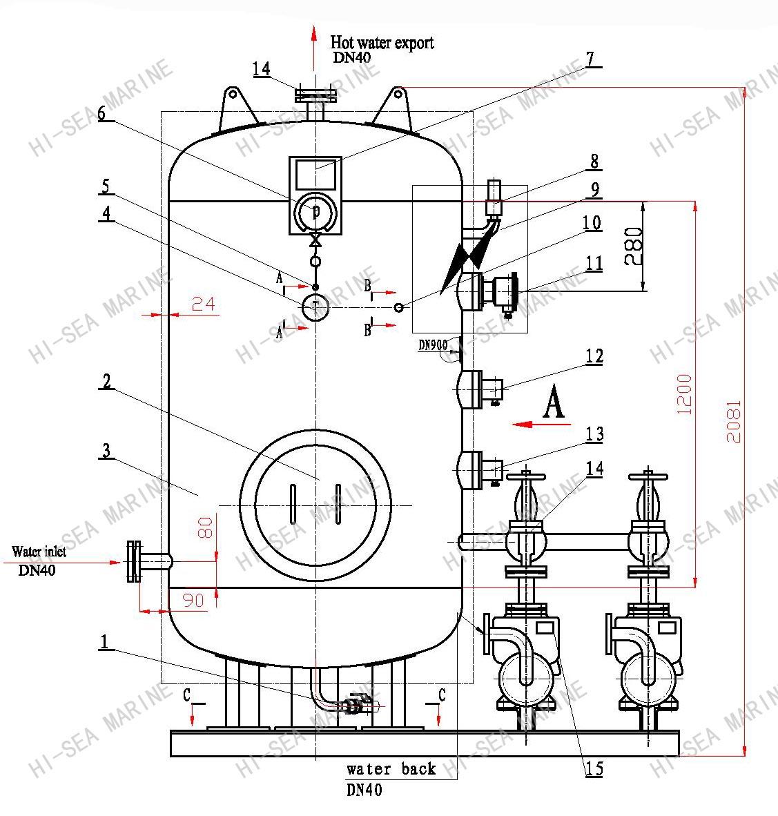Drg 1 0 Hot Water Tank Supplier China Marine Calorifier