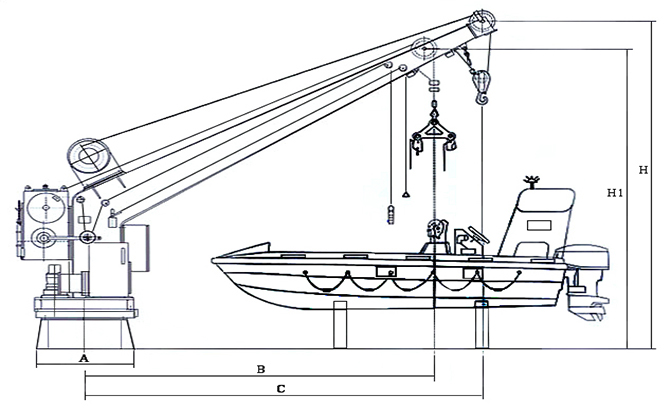 Single Arm Rescue Boat Davit with crane Supplier, China