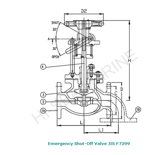 Marine Bronze Emergency Shut-Off Valve JIS F7399 5K