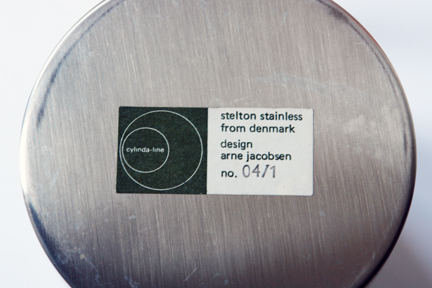label on the base of vintage 1960s Cylinda-line stainless steel sugar bowl desingned by Arne Jacobsen for Danish manufacturer, Stelton