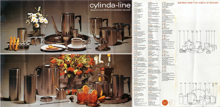 original brochure for Cylinda-line range designed in the 1960s by Arne Jacobsen for Danish manufacturer Stelton