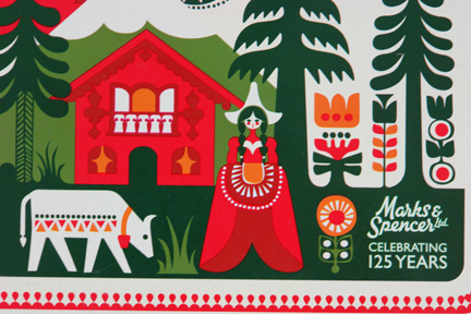 detail from Marks & Spencer 125th anniversary commemerative biscuit tin designed by Sanna Annukka