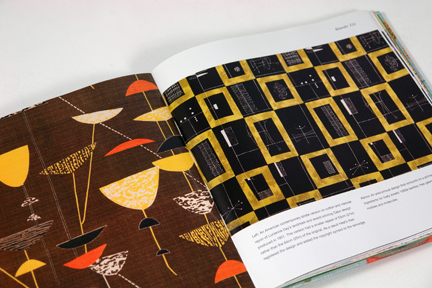 "page from the book entitled ""1950s Fashion Prints"" by Marnie Fogg showing vintage 1950s Lucienne Day fabric"