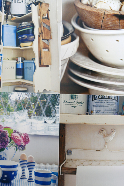four photos of blue and white vintage crockery and kitchenalia