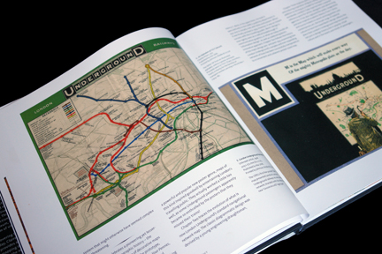"page from ""London Underground Maps - Art, Design and Cartography"" by Louise Dobbin showing the ""M is for Map"" page from illustrated alphabet book"