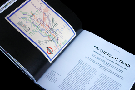 "page from ""London Underground Maps - Art, Design and Cartography"" by Louise Dobbin showing Harry Beck's first diagrammatic Tube map at the beginning of chapter two"