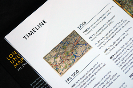 "page from ""London Underground Maps - Art, Design and Cartography"" by Louise Dobbin showing the timeline and history of the London Underground"