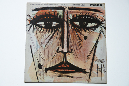 Ella Fitzgerald LP cover with a woman's face illustrated by Bernard Buffet