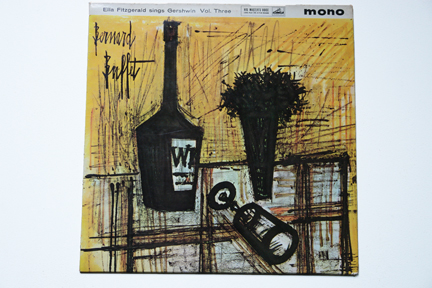 Ella Fitzgerald LP cover of a table with wine bottle, glass and vase of flowers illustrated by Bernard Buffet