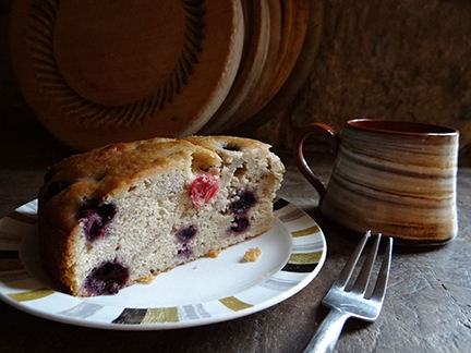 slice of banana blueberry cranberry buttermilk cake with cup of tea | H is for Home