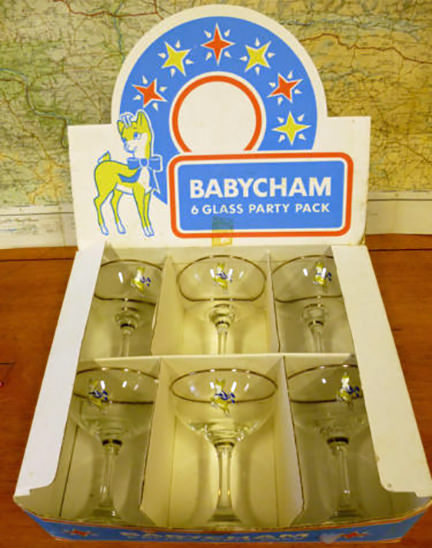vintage boxed set of Babycham glasses being sold by & in support of North Devon Hospice