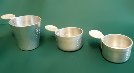 set of 3 vintage aluminium measuring cups for sale on eBay for Charity in support of The Martlets Hospice