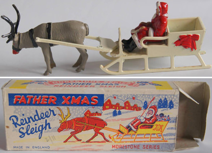vintage Morestone die cast Father Christmas in a sleigh with a reindeer