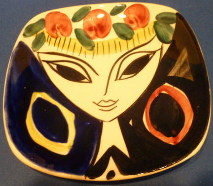 Stavangerflint plate designed by Inger Waage with a handpainted face of a woman for sale on eBay for Charity in support of Age UK South Lakeland