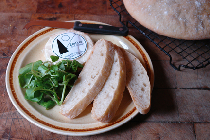 sliced, homemade ciabatta with Todmorden-made Pextenement cheese and watercress