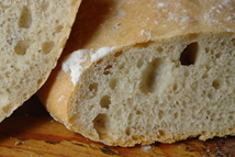detail from a sliced, homemade ciabatta