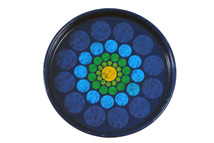 vintage 1960s/70s tin coaster with concentric blue, green and yellow dot pattern