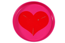 vintage 1960s/70s tin coaster with a red heart on a pink background