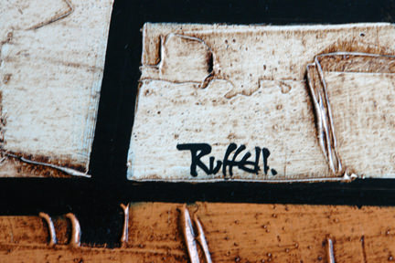 detail of a vintage Colin Ruffell oil painting showing the artist's signature