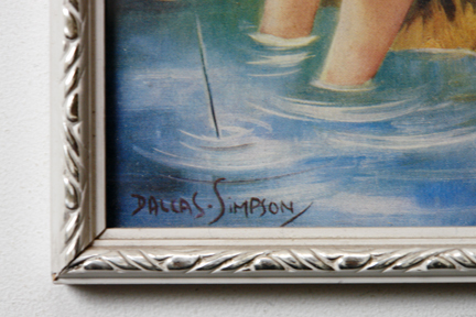 Detail of vintage Dallas Simpson print showing her signature