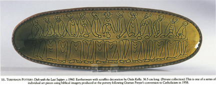 long oval Terrybaun Pottery dish with scraffito decoration by Oisin Kelly depicting the Last Supper