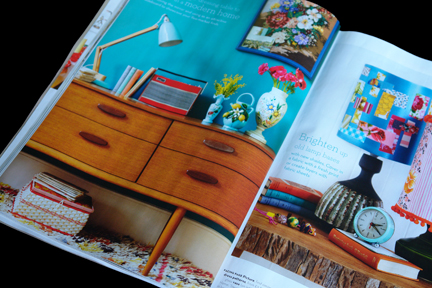 H is for Home shop stock including a small vintage dandycord sewing box and small sky blue vintage clock featured in the May 2012 edition of Homes and Antiques magazine