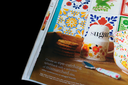 H is for Home shop stock including a vintage Crown Devon pottery sugar shaker featured in the May 2012 edition of Homes and Antiques magazine