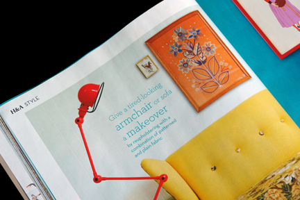 H is for Home shop stock including a framed vintage orange woolwork picture featured in the May 2012 edition of Homes and Antiques magazine