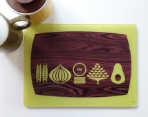 """The Mid Century Kitchen"" wooden chopping board digital print by Amanda Shufflebotham aka Graffikheart"