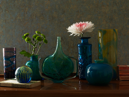 Selection of Mdina glass from a page in the March 2012 Homes and Antiques magazine