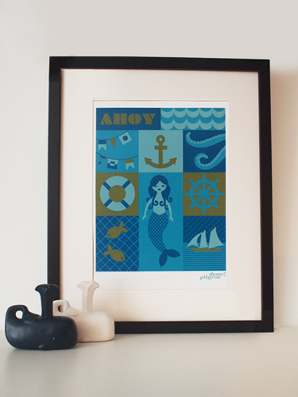 "framed ""Web Ahoy"" illustration by Pilgrim Lee"