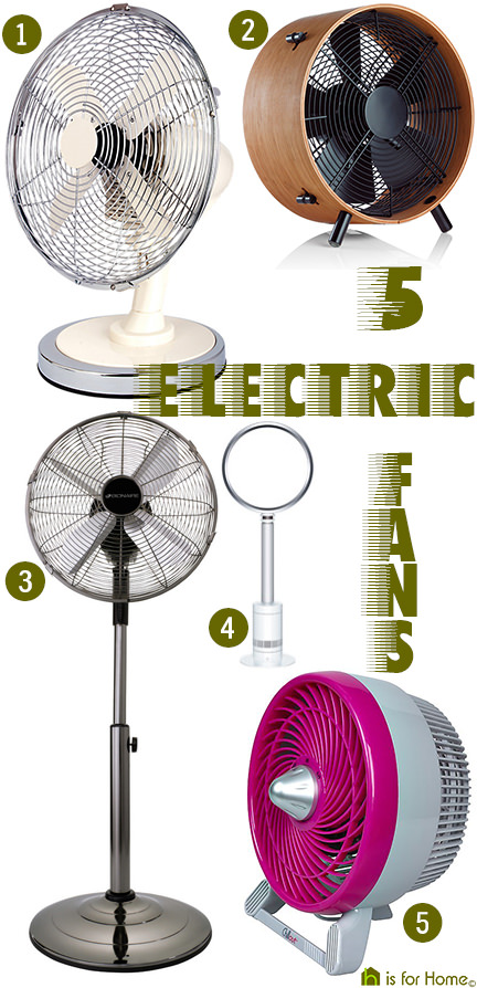 selection of 5 electric fans