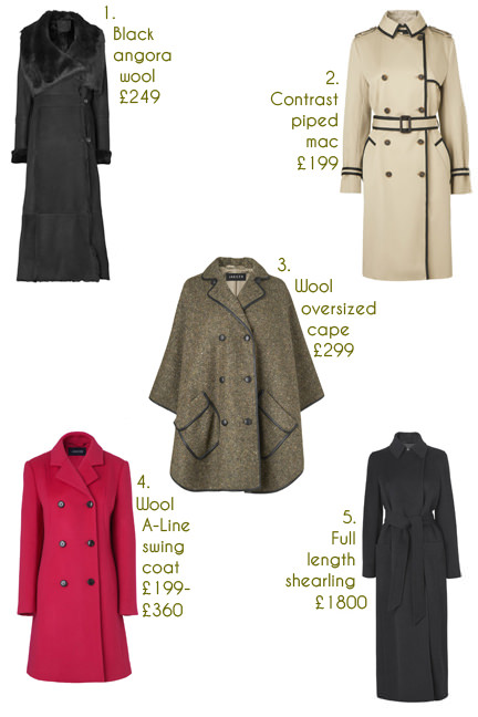 selection of 5 winter coats from Jaeger