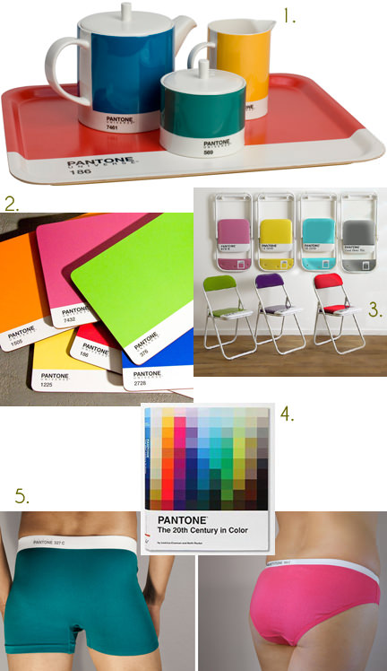 selection of 5 products based on Pantone colours