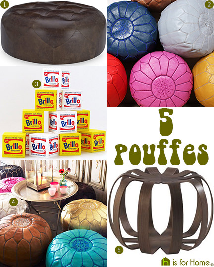 selection of 5 pouffes